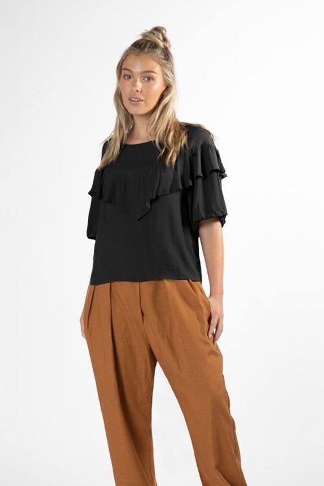 Sylvi Puff Top in Black