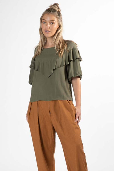 Sylvi Puff Top in Mossgreen Tops SASS