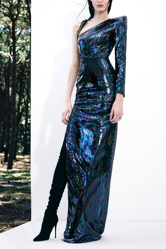 Tallon Sequin One Sleeve Colum Gown