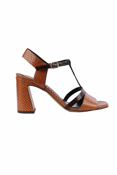 T Bar Block Heel in Cuoio Shoes Bruno Premi