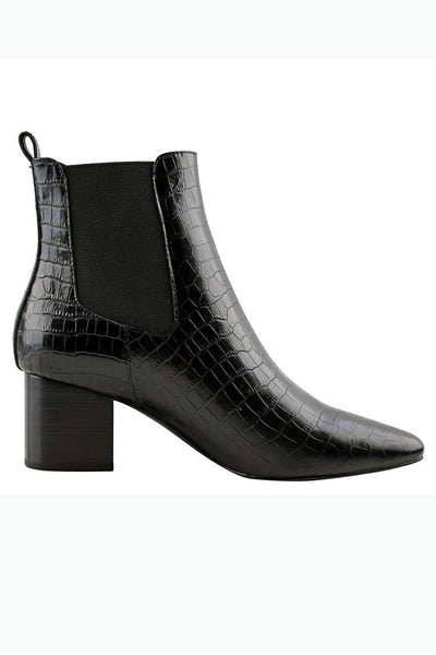 Teddy Boot in Black Croc Shoes Sol Sana