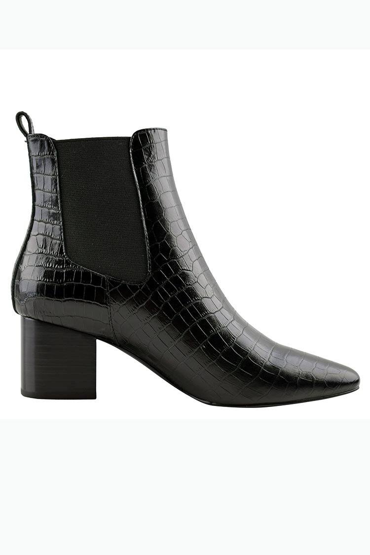 Teddy Boot in Black Croc
