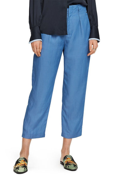 Tailored Pants in Azure Blue Bottoms Maison Scotch