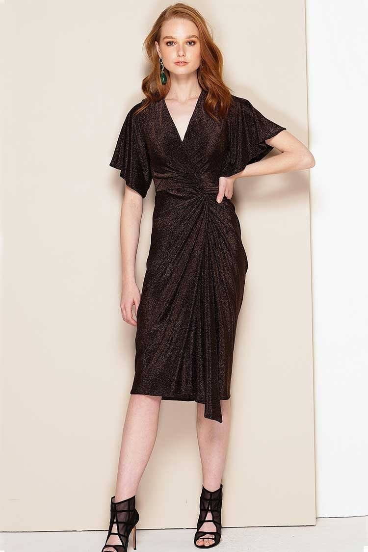 Tosca Dress in Dark Chocolate Lurex