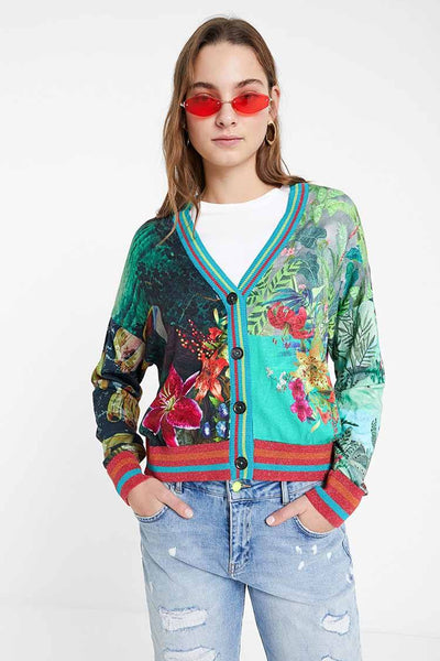 Tropical Print Cardigan Jumper Tops Desigual