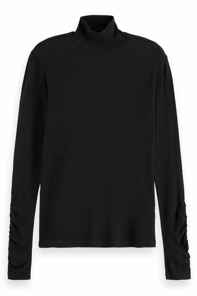 Turtleneck Top in Fine Jersey Tops Maison Scotch