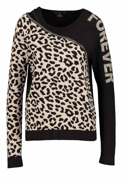 Two-tone Leopard Sweater Tops Monari