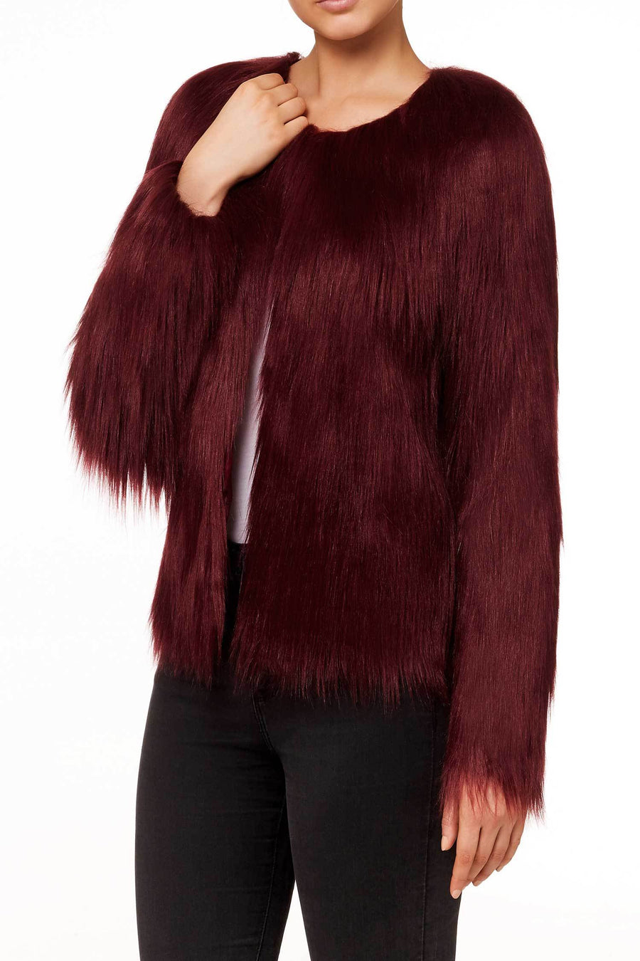 Shop Online Unreal Dream Jacket in Burgundy by Unreal Fur  Frockaholics Jackets & Outerwear