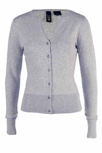 V-Neck Cotton Cardi in Soft Grey