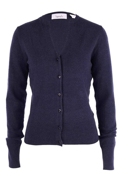 V-Neck Cotton Cardi in Navy Jackets & Outerwear Press
