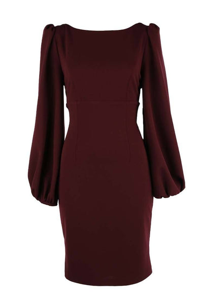 Vicktoria LS Cocktiail Dress in Wine Dresses Quba