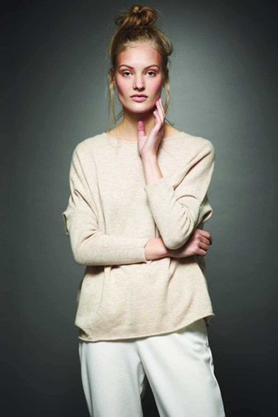 Shop Online Cashmere Angle Sleeve Sweater in Latte by Sabatini  Frockaholics Tops