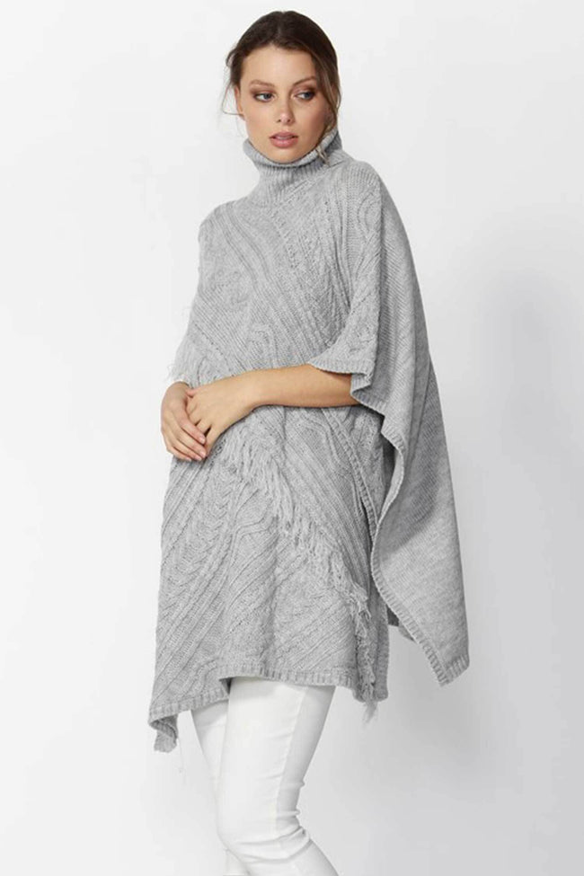 Shop Online Meant-To-Be Poncho in Light Grey Marle by Fate + Becker  Frockaholics Jackets & Outerwear