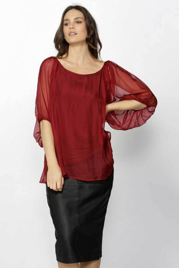 Adia Silk Balloon Sleeve Top