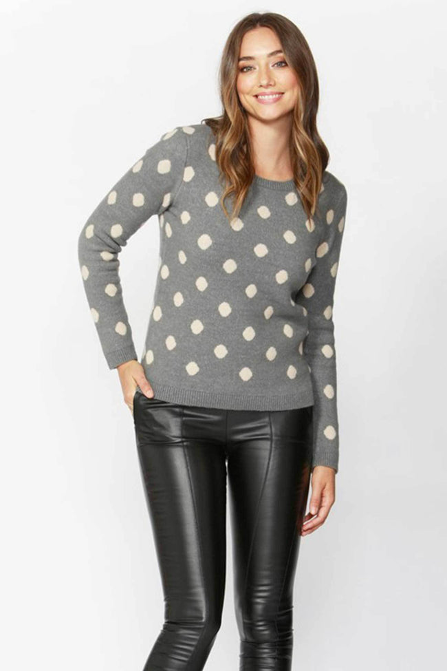 Shop Online Sweet Dreams Spotty Knit in Grey/Pink Spot by Sass  Frockaholics Tops