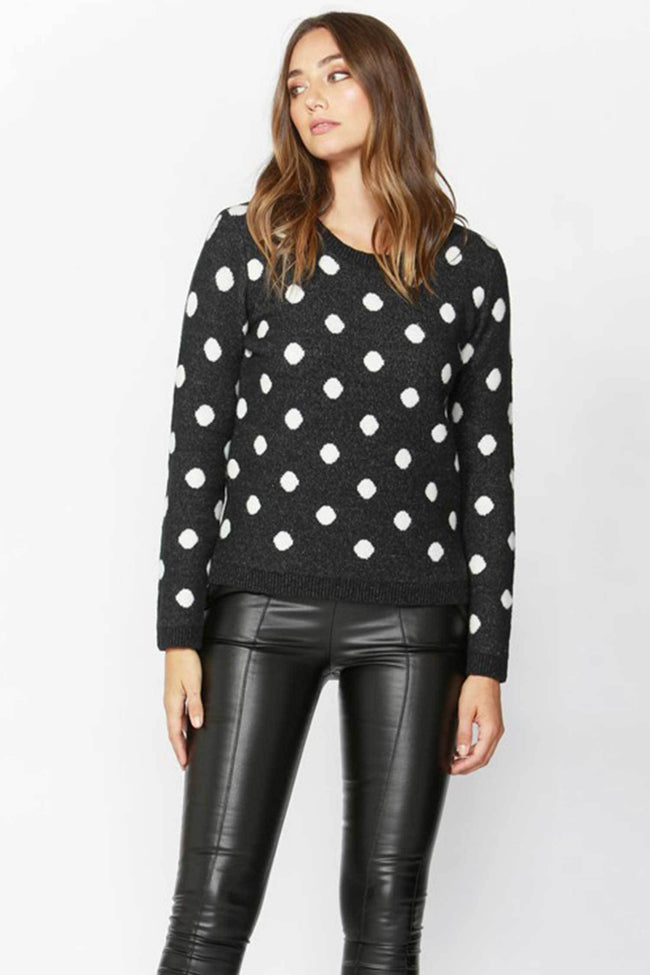 Shop Online Sweet Dreams Spotty Knit in Charcoal/White Spot by Sass  Frockaholics Tops