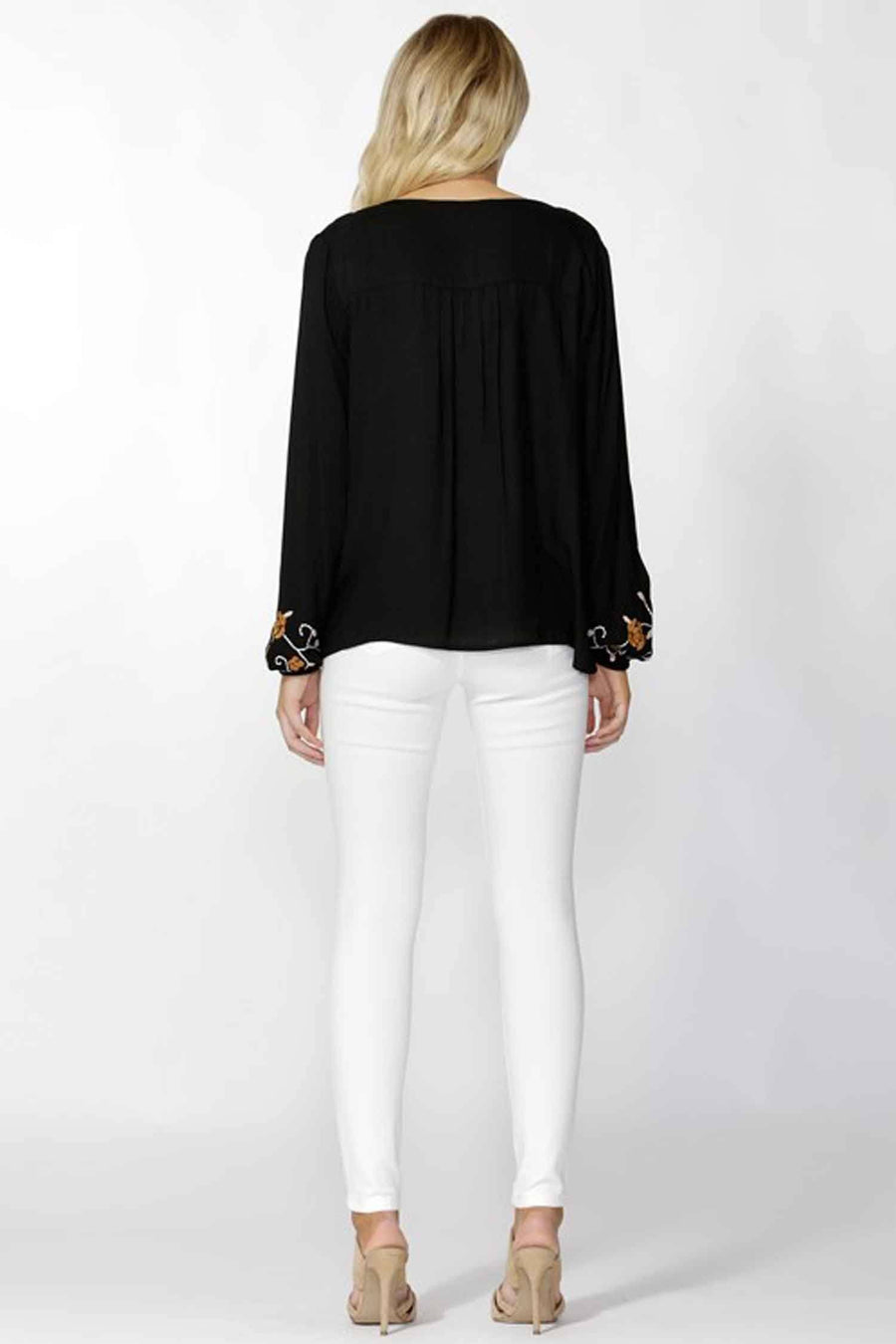 Gili Peasant Blouse in Black