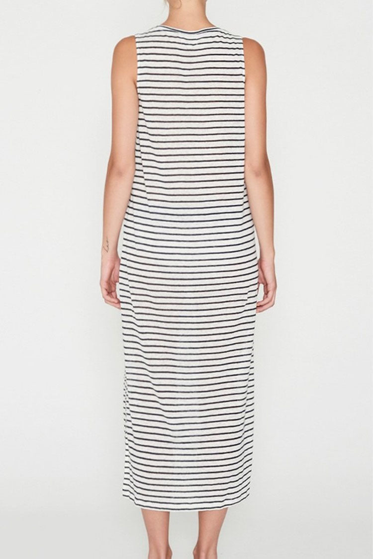 EC Linen Tank Dress in Navy Stripe