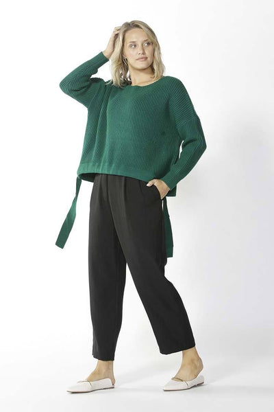 Wembley Knit Sweater in Green Tops Fate + Becker