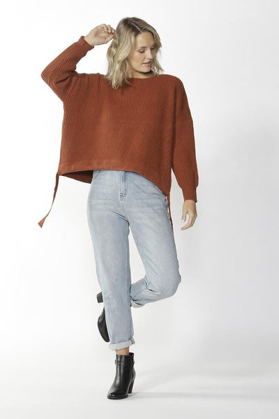 Wembley Knit Sweater in Toffee Tops Fate + Becker