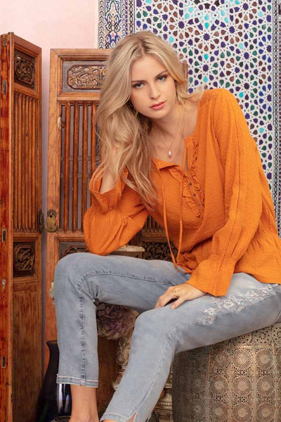 Willow Frill Top in Spice Tops Verge