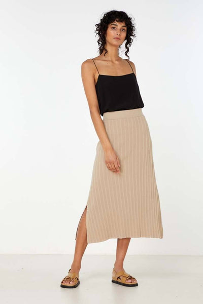 Yana Knit Skirt in Light Taupe Bottoms Elka Collective