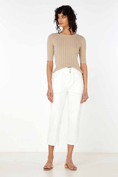 Yana Knit Top in Light Taupe Tops Elka Collective