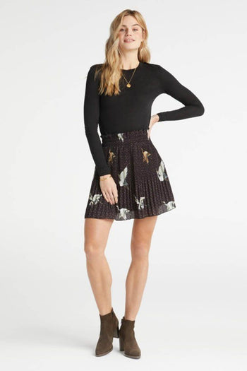 Pleated Skirt in Cranebird Print