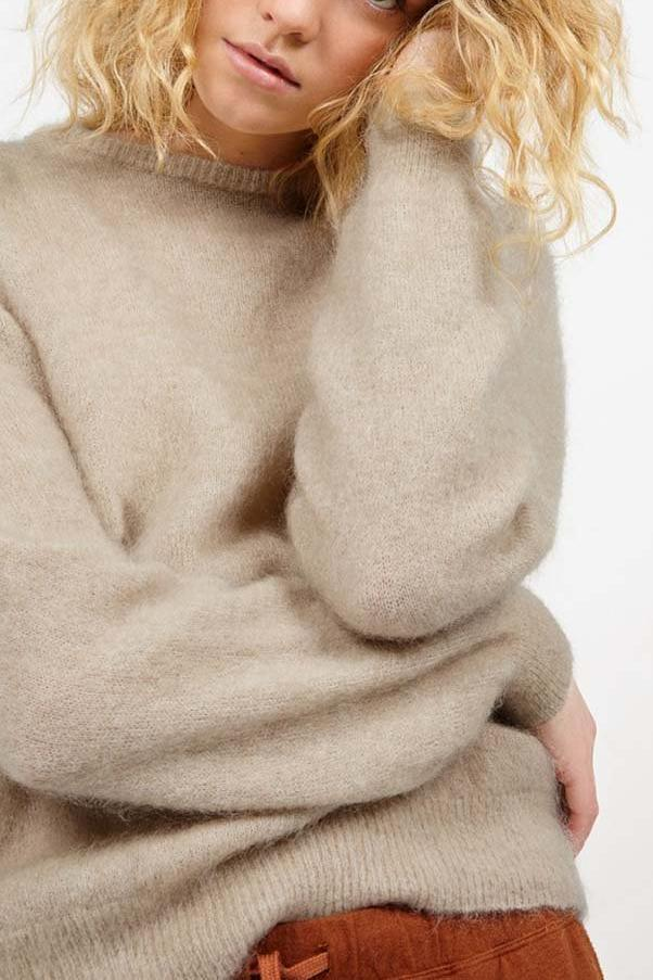 Zabidoo Round Neck Jumper in Wool Melange