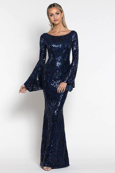 Abigail Bell Sleeve Sequin Gown Dresses Bariano