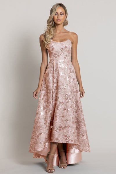 Alaia Strapless Gown in Rose/Silver Dresses Bariano