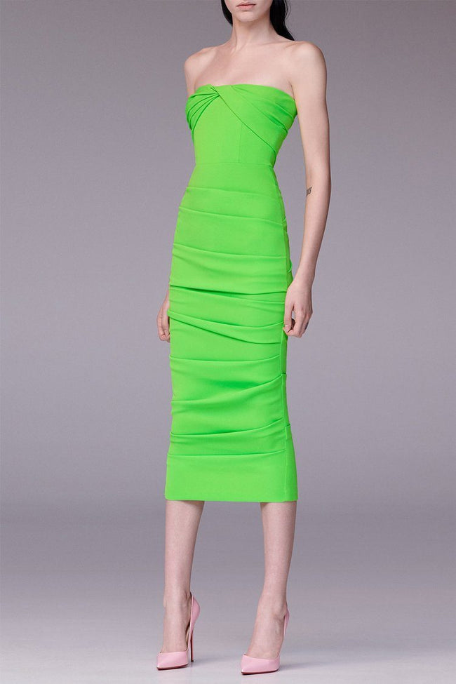 Channing Strapless Ruched Midi Dress