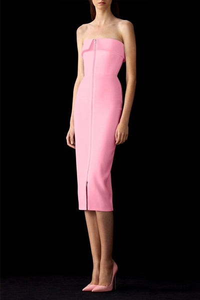Moore Zip-Front Crepe Dress in Pink