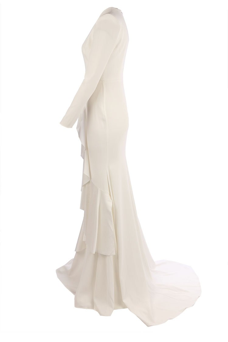 Dane Satin Ruffle Fishtail Gown in White