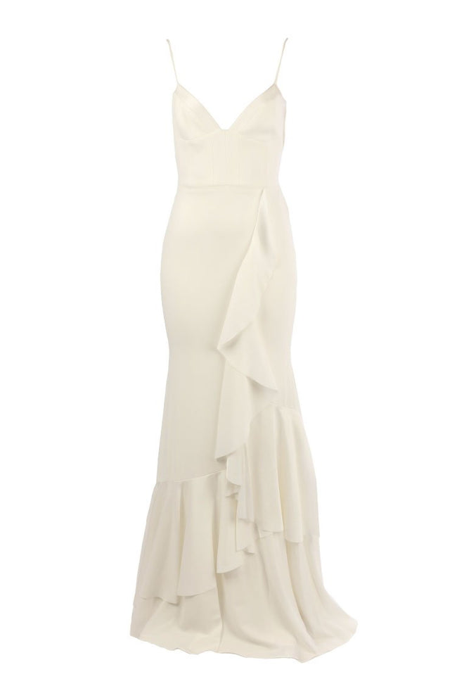 Carrie Satin Crepe Bikini Ruffle Gown in White