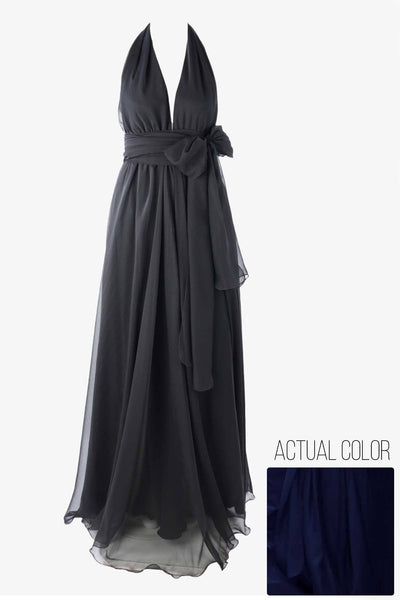 Alida Gown in Midnight | Chiffon Dresses Lucy Laurita - Leiela