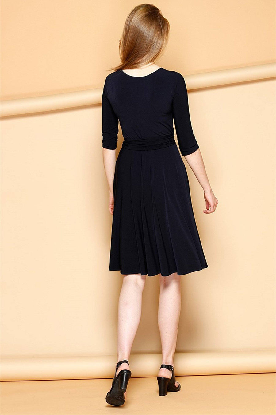 Reverse Wrap Dress in Navy (Full Skirt)