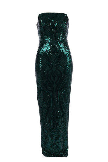 Amy Strapless Pattern Sequin Gown
