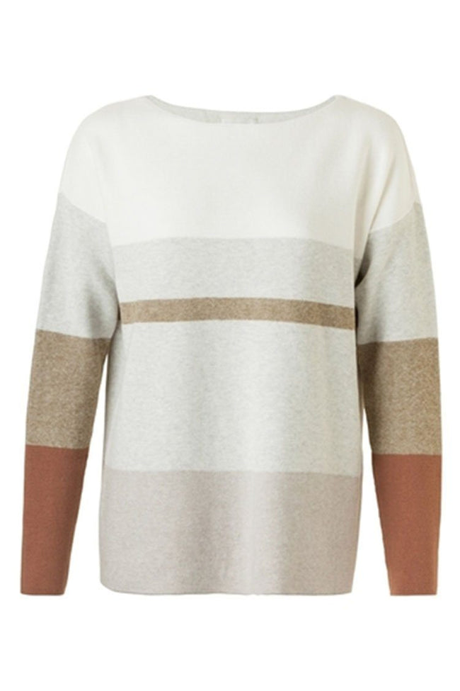 Boatneck Sweater Stripe in Moss Green