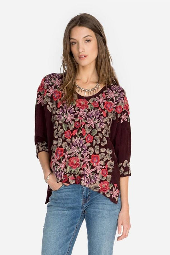 Leopard Rose Blouse in Merlot