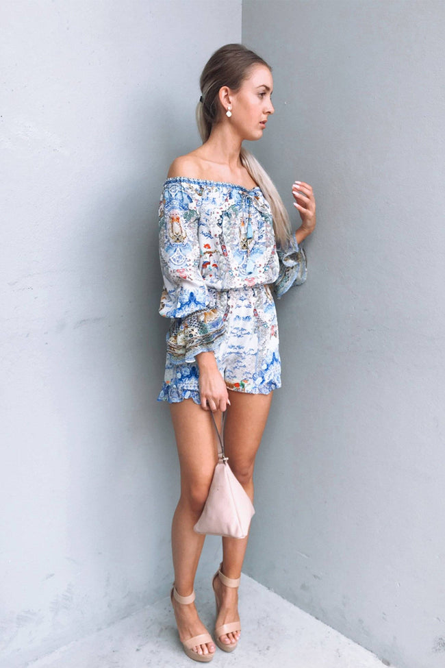 Drop Shoulder Frill Playsuit in Geisha Gateways