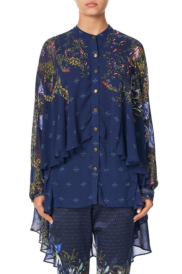 Draped Button Front Blouse in Southern Twilight