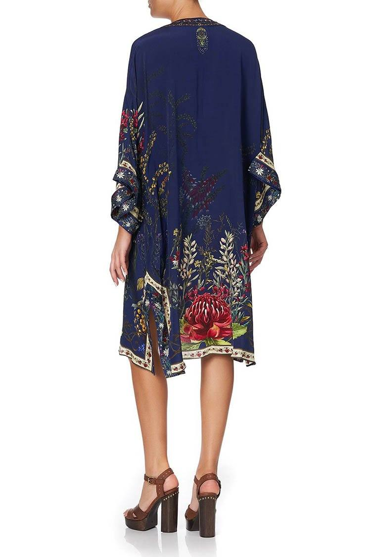 Lace Up Front Kaftan in Wings in Arms