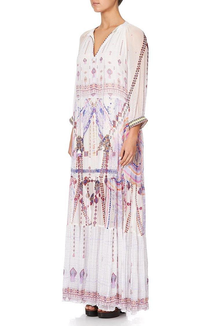 Long Gathered Panel Dress in Tanami Road