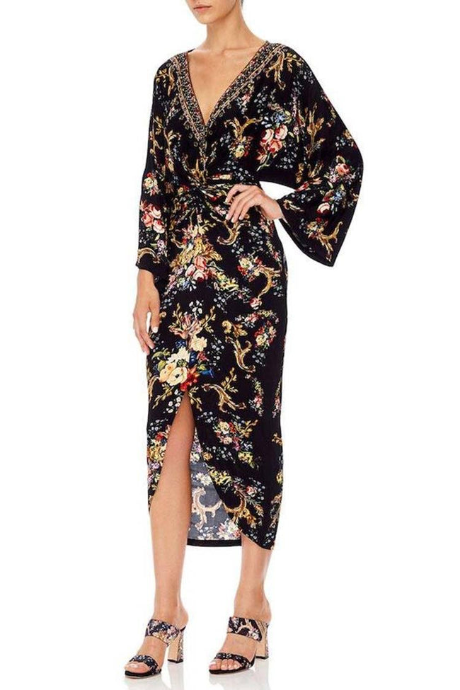 Long Split Front Twist Dress in Friend in Flora