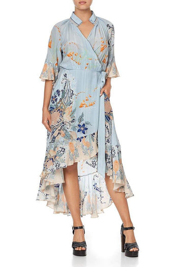 Midi Wrap Dress w Raglan Sleeve