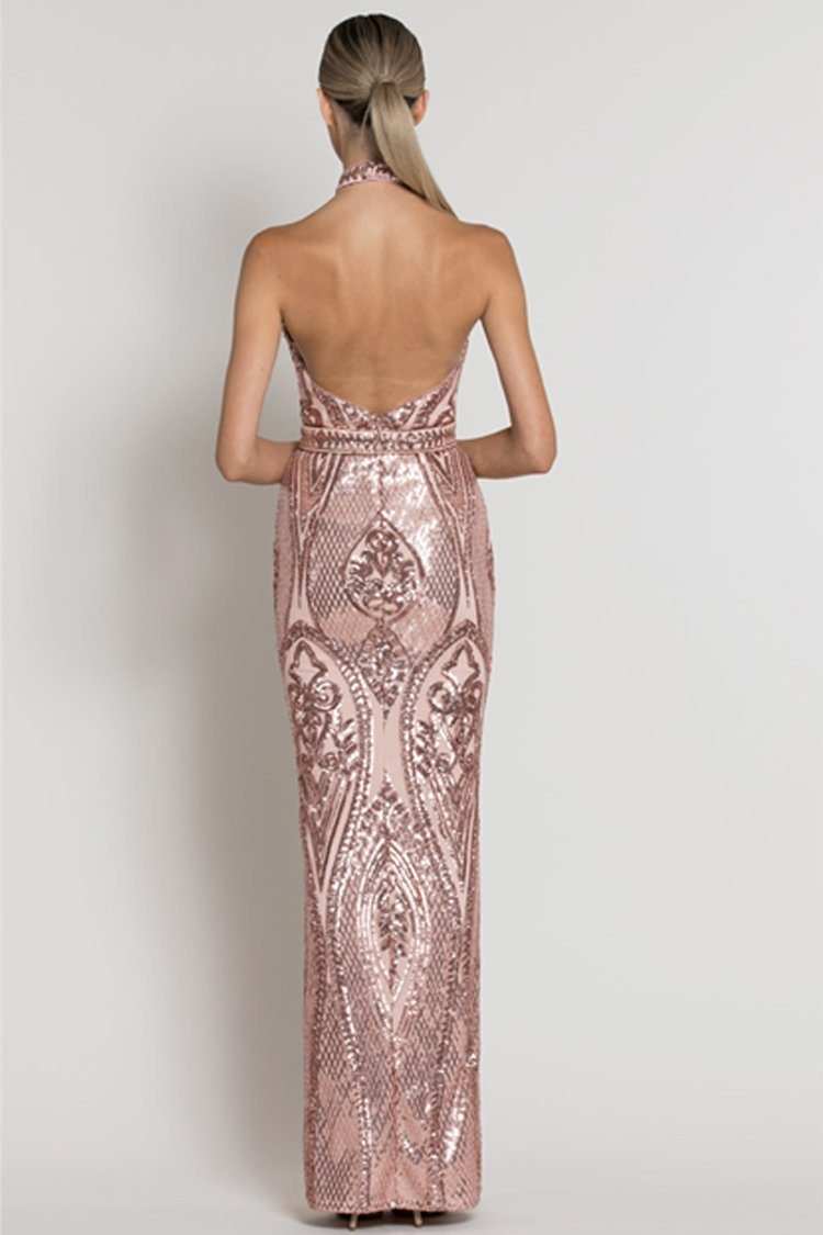 Chloe High Neck Pattern Sequin Gown