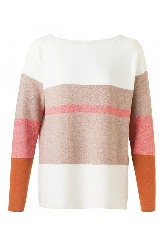 Boatneck Sweater Stripe in Pompeian Red