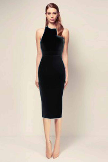 Aileen Stretch Halter Open Back Lady Dress by Alex Perry Frockaholics.com