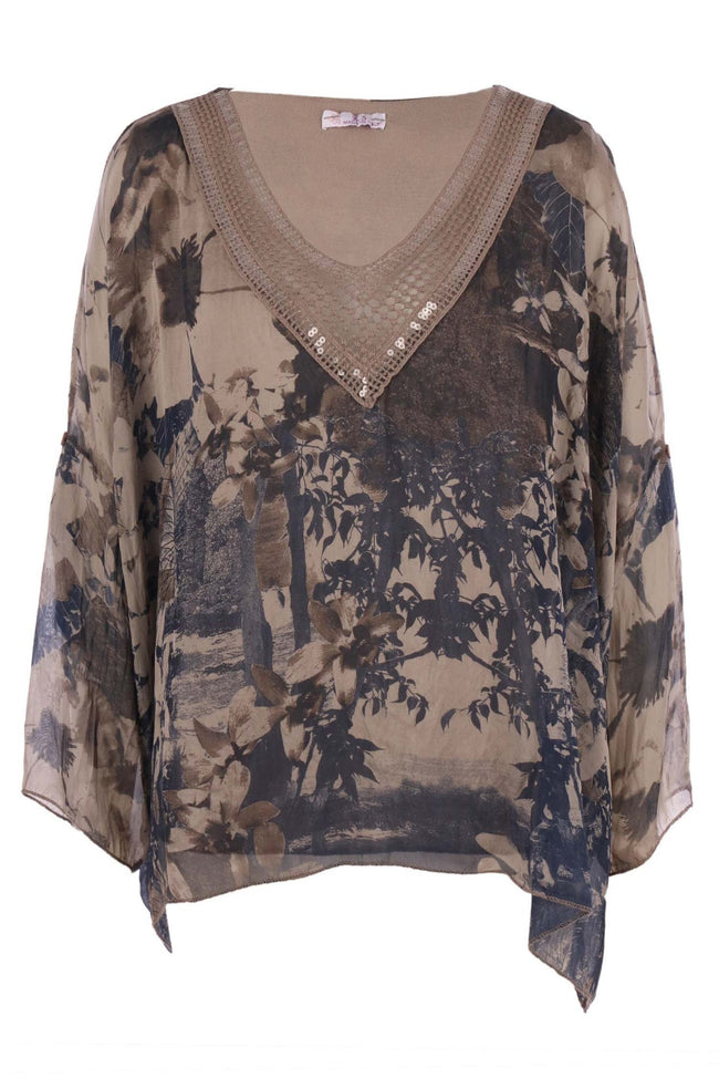 V Neck Forest Print Top in Taupe by Elizabeth Scott